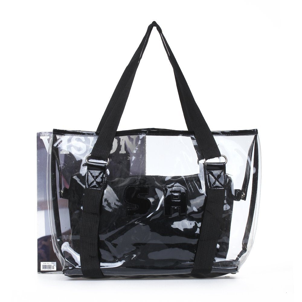 Transparent Black Set Tote Shoulder Bag