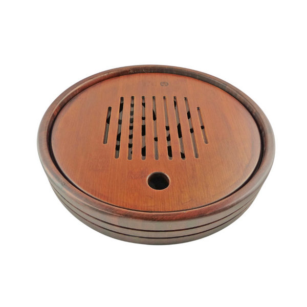 Contentment Round Tea Tray Aged Bamboo
