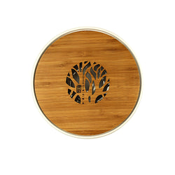 Bamboo Tea Tray Round Porcelain Panel Style