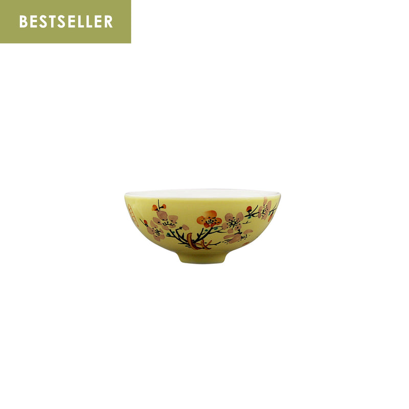 Jingdezhen Porcelain Four Season Floral Yellow Cup Set of 4