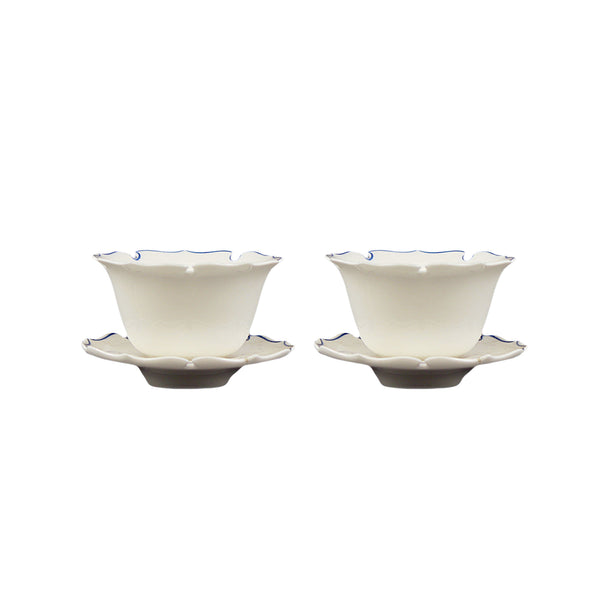 Porcelain Tea Cups Set of 2 in Wooden Box