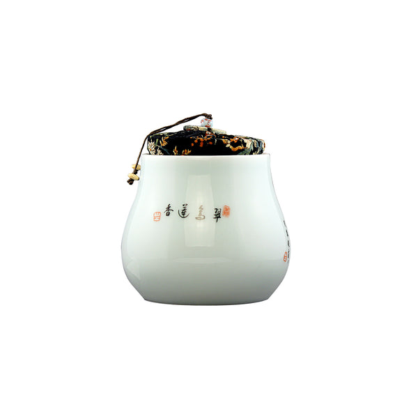 Pear Shape Lotus Porcelain Canister (Caddy)
