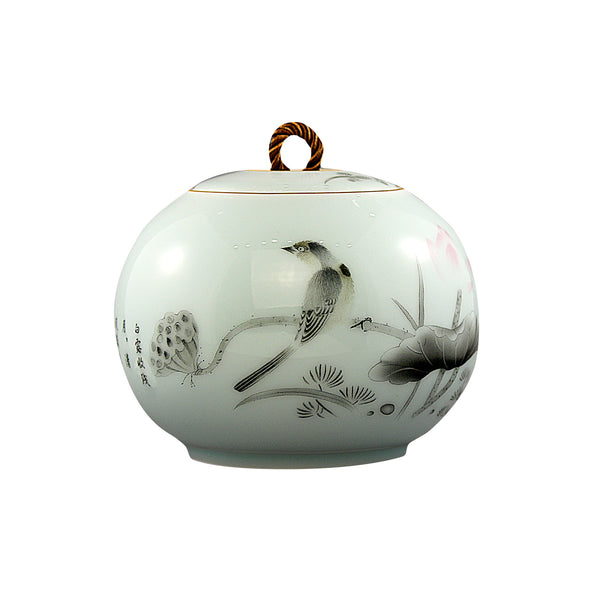 Lotus Aroma Round Porcelain Canister (Caddy)