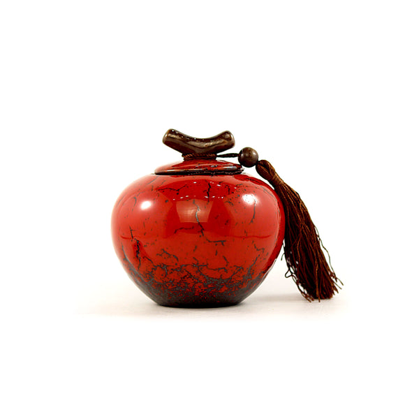 Porcelain Branch Small Red Canister (Caddy)