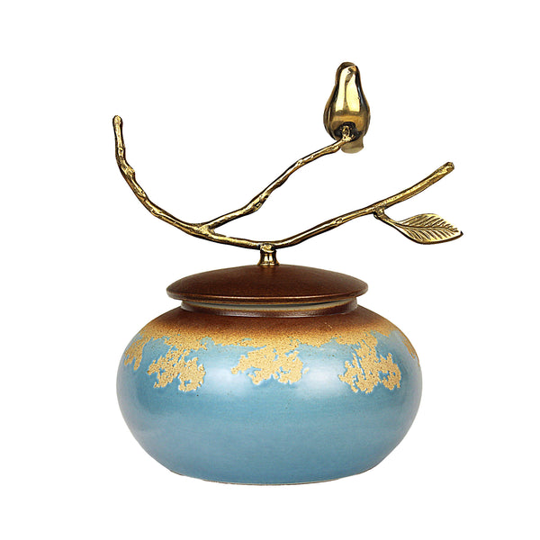 Tea Canister (Caddy) Blue Base w/ Brass Bird