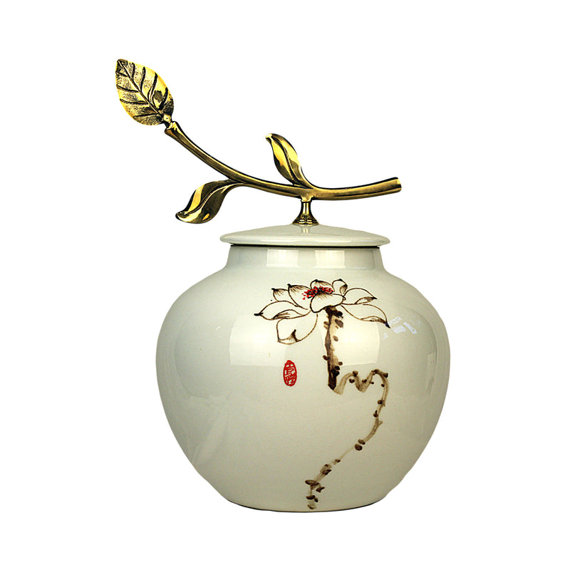 Porcelain Tea Canister (Caddy) Gold Leaf