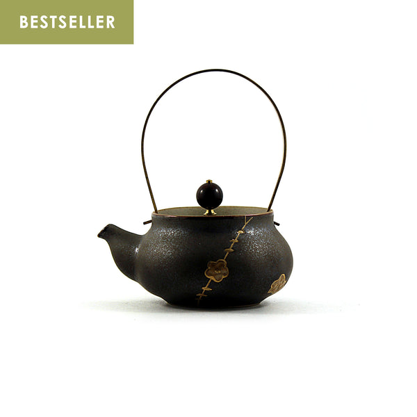 Gold Cherry Brass Handle Tea Pot