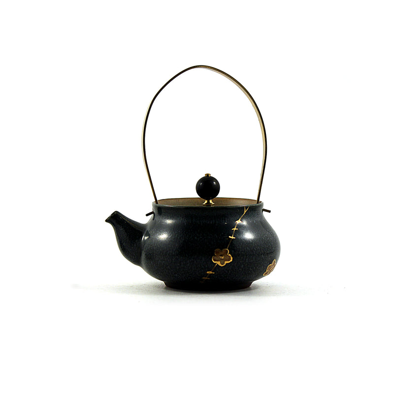 Green Cherry Brass Handle Tea Pot