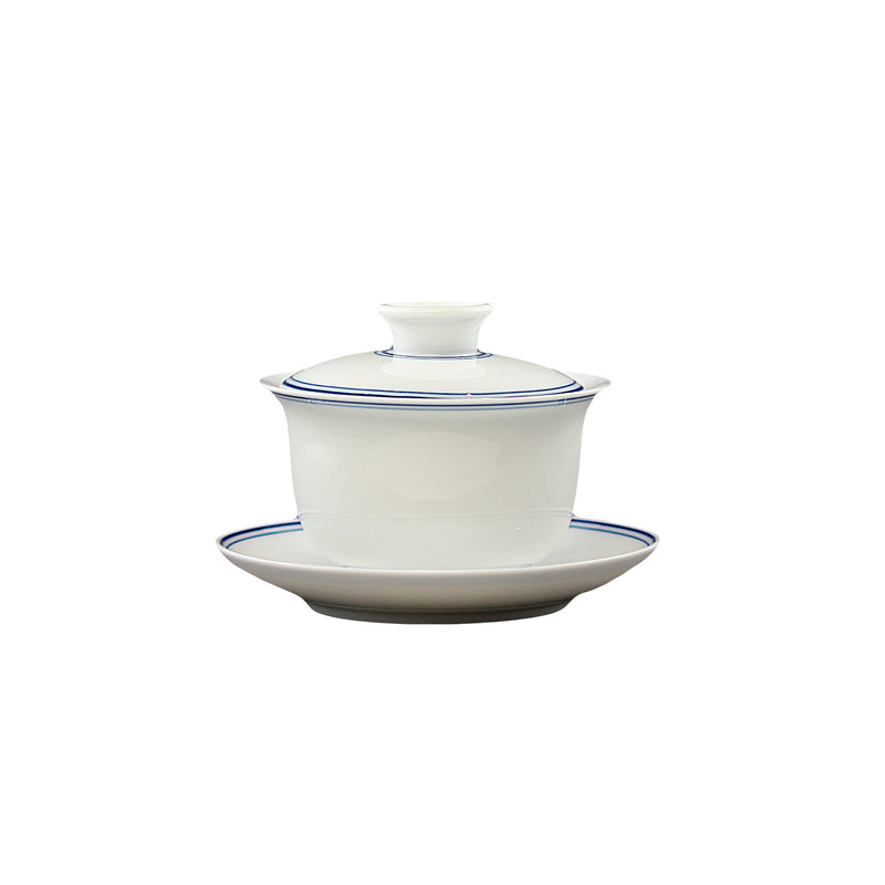 Jingdezhen Porcelain White Gaiwan Tea Set 9 pieces
