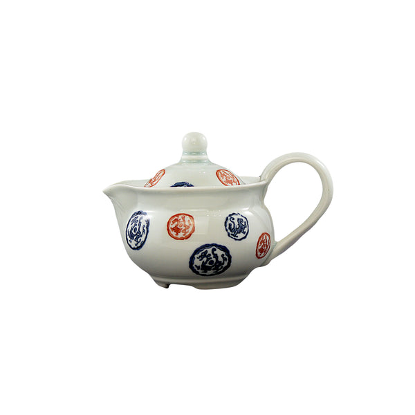Blue Red Print Tea Set