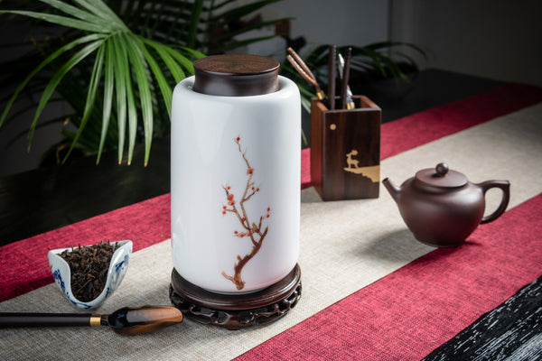 Plum Blossom Tall Canister with Rosewood Lid