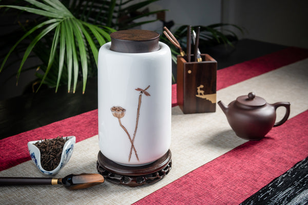 Lotus Root Hand Painted Canister (Caddy)