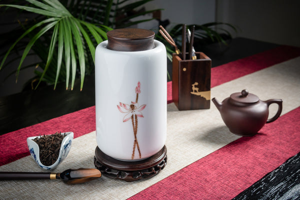 Lotus Flower Tall Canister with Rosewood Lid