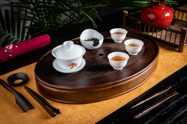 Fortune Heart Aged Bamboo Tea Tray (L)