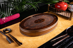 Fortune Heart Aged Bamboo Tea Tray (M)