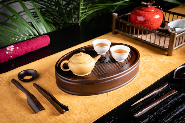 Fortune Heart Aged Bamboo Tea Tray (S)