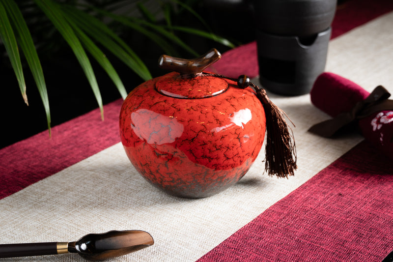 Porcelain Branch Large Red Canister (Caddy)