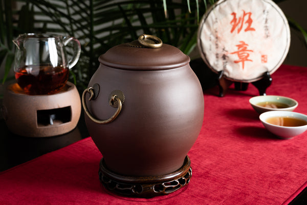 Terracotta Tea Canister (Caddy) - Brass Handle