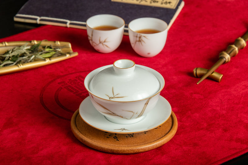 Porcelain Mini Gaiwan Brown Bamboo