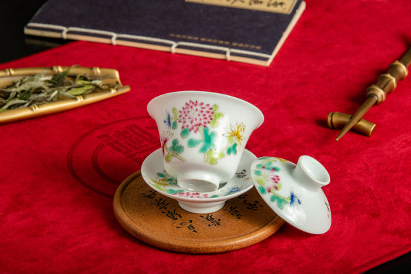 Jingdezhen Gaiwan 75ml Red Daisy 景德鎮 老蓋碗