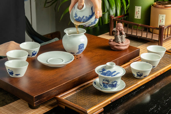Dual Hand Painted Ceremonial Dual Gaiwan Tea Set