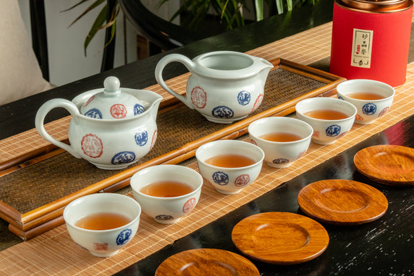 Jingdezhen Porcelain Blue Red Print Tea Set