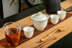White Jade Travel Tea Set 6 Pieces Set With Hard Shell Case