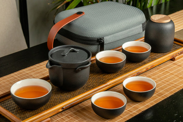 Zenful Wind Portable Porcelain Tea Set (Black)