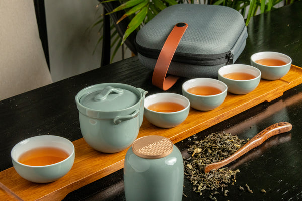 Zenful Wind Portable Porcelain Tea Set (Grey)