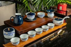 Celestial Elegant Qinghua Patent Tea Set 13 Pieces