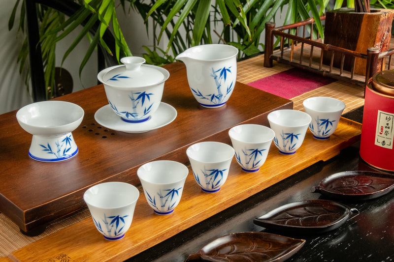 Bamboo Beauty Hand-Painted Gaiwan 12 Piece Set