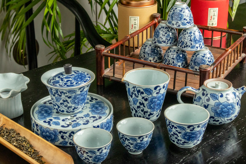 Flowering Lotus Ceramic Full Tea Set / Teapot Holder