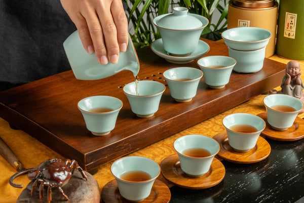 Ru Yao Full Gaiwan Set 14 Pieces - Autumn Cup