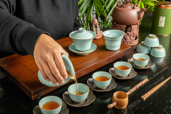 Ru Yao Full Gaiwan Set 14 Pieces - Bowl Shape Cup