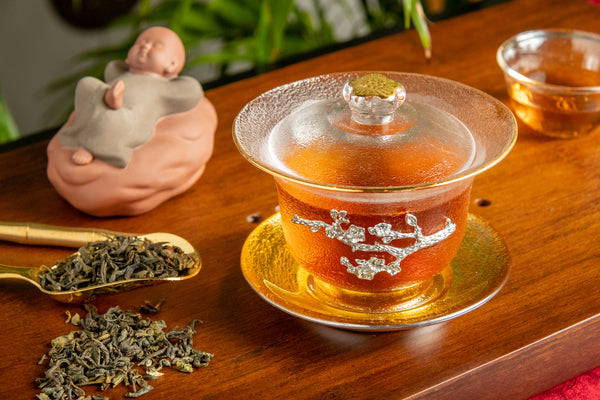 Gold Trimmed Glass Gaiwan - Imperial Palace Theme