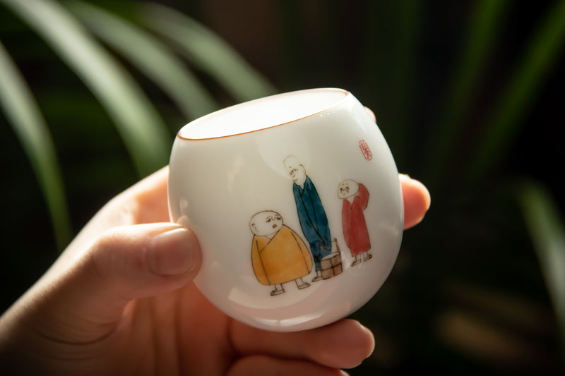 The Story Of The Three Monks Jingdezhen Tumbler Cup 三個和尚的故事