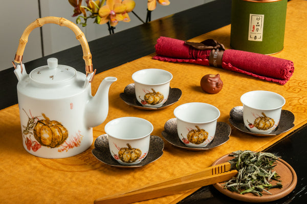 Jingdezhen Porcelain Pumpkin Tea Set
