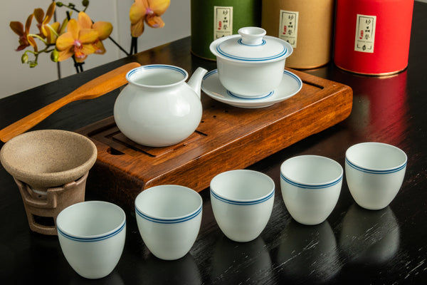Jingdezhen White Gaiwan Tea Set 9 pieces
