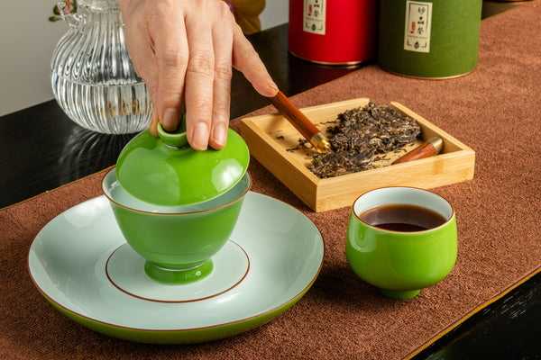 Porcelain Gaiwan 200ml Apple Green 乾泡 蓋碗