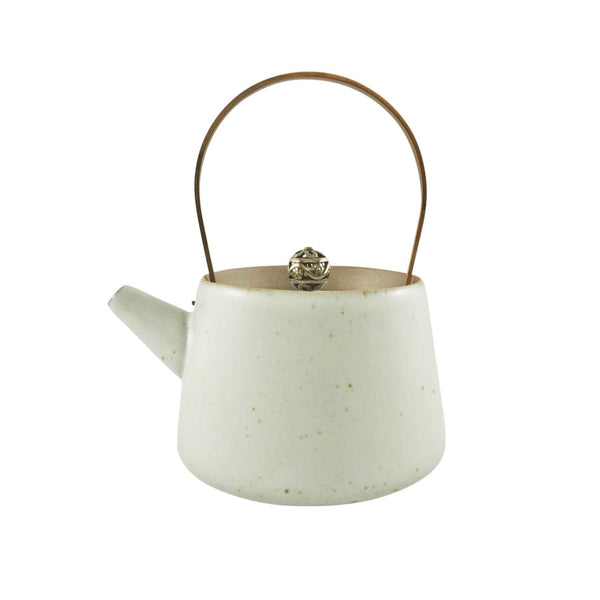 Brass Handle Speckled White Ceramic Teapot