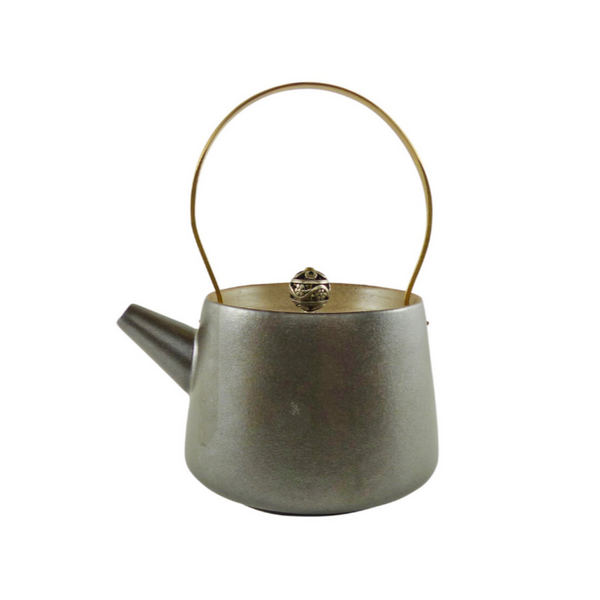 Brass Handle Chocolate Brown Ceramic Teapot