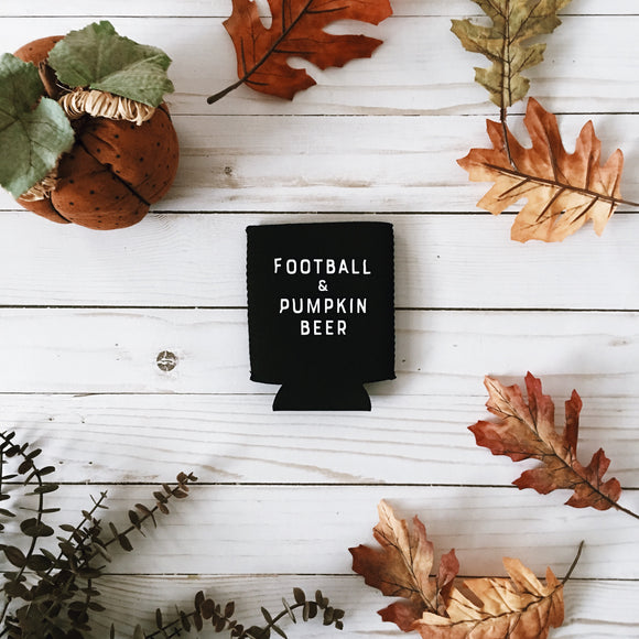 Football + Pumpkin Beer Koozie
