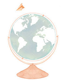 image shows hand illustrated globe in delicate pastel colours