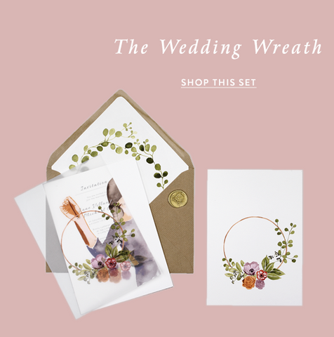 image shows a beautiful hand illustrated wedding invitation with little details