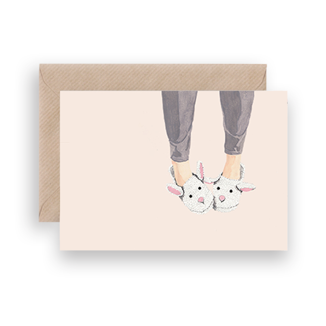 BUNNY SLIPPERS GREETING CARD - Lykkefund Paper