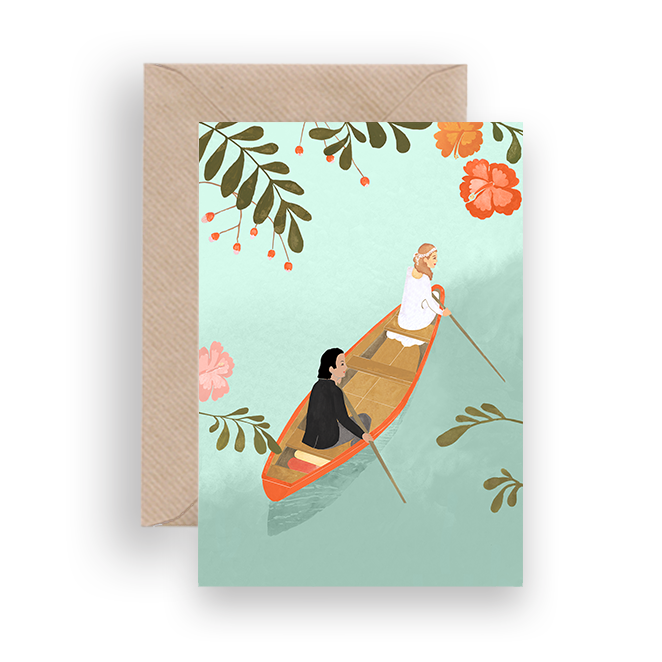 CANOE WEDDING GREETING CARD - Lykkefund Paper