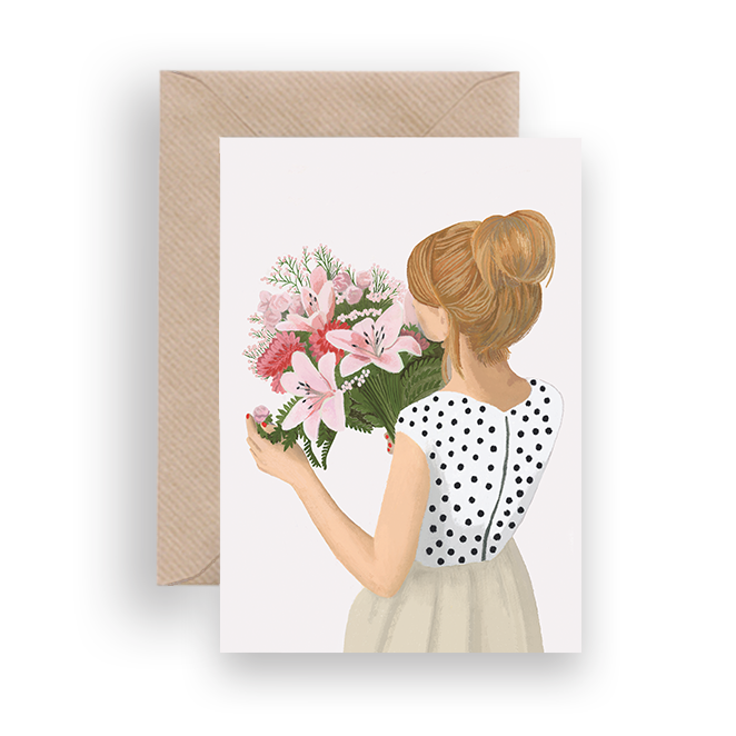 FLOWERS AND DOTS GREETING CARD - Lykkefund Paper