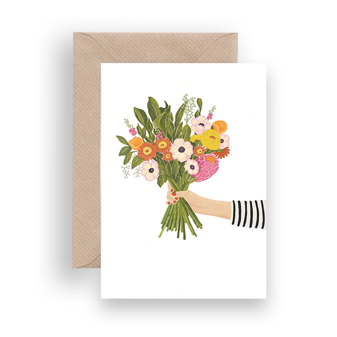 FLOWERS AND STRIPES GREETING CARD - Lykkefund Paper