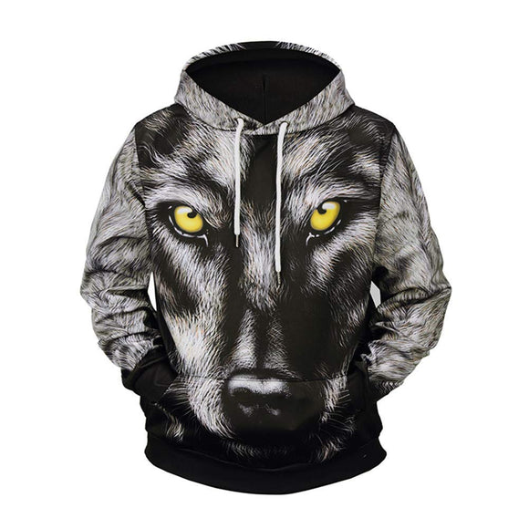 7cecb31788536a ShinFashion Men 3D Printed Realistic Snow Wolf Pullover Hooded Sweatshirt