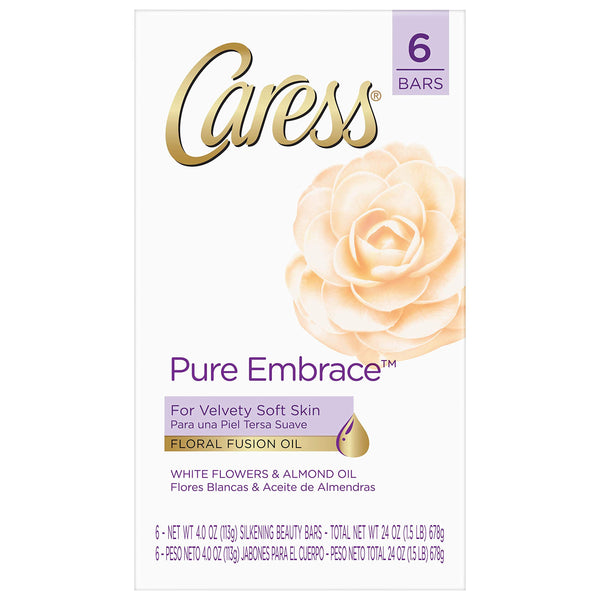 Caress Beauty Bar Pure Embrace 3.75 oz 6 Bars (Packaging may vary)